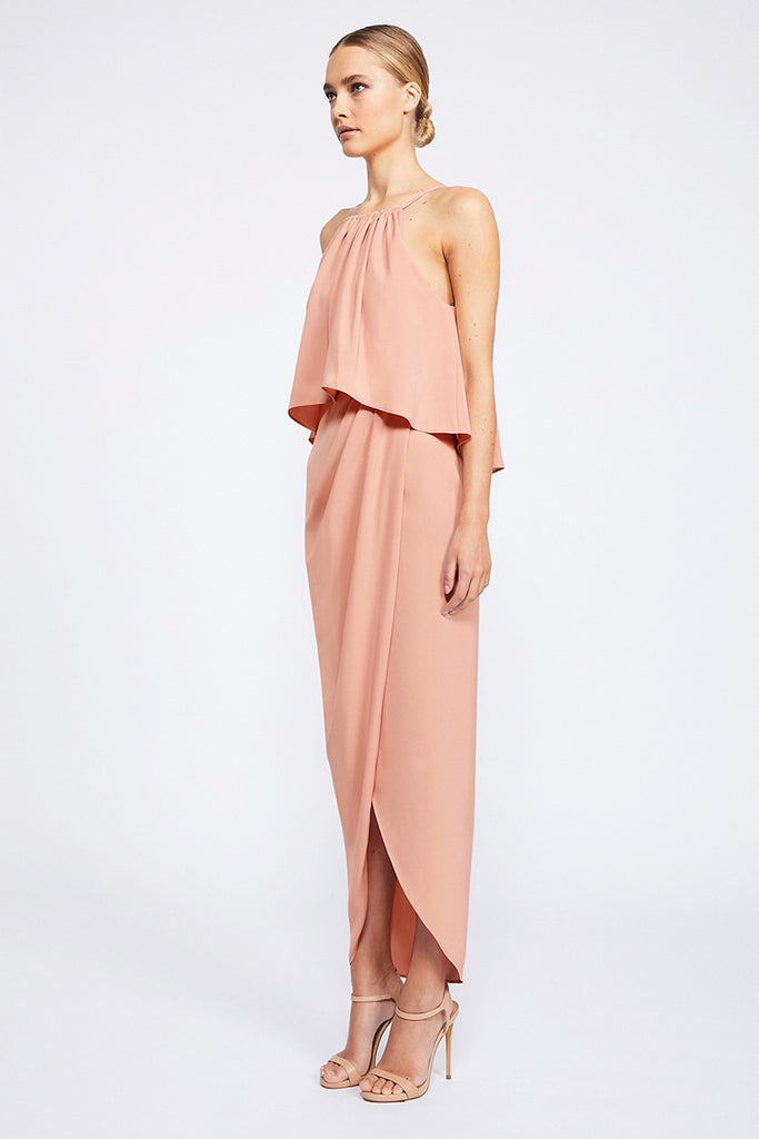 CORE HIGH NECK FRILL DRESS - DUSTY PINK