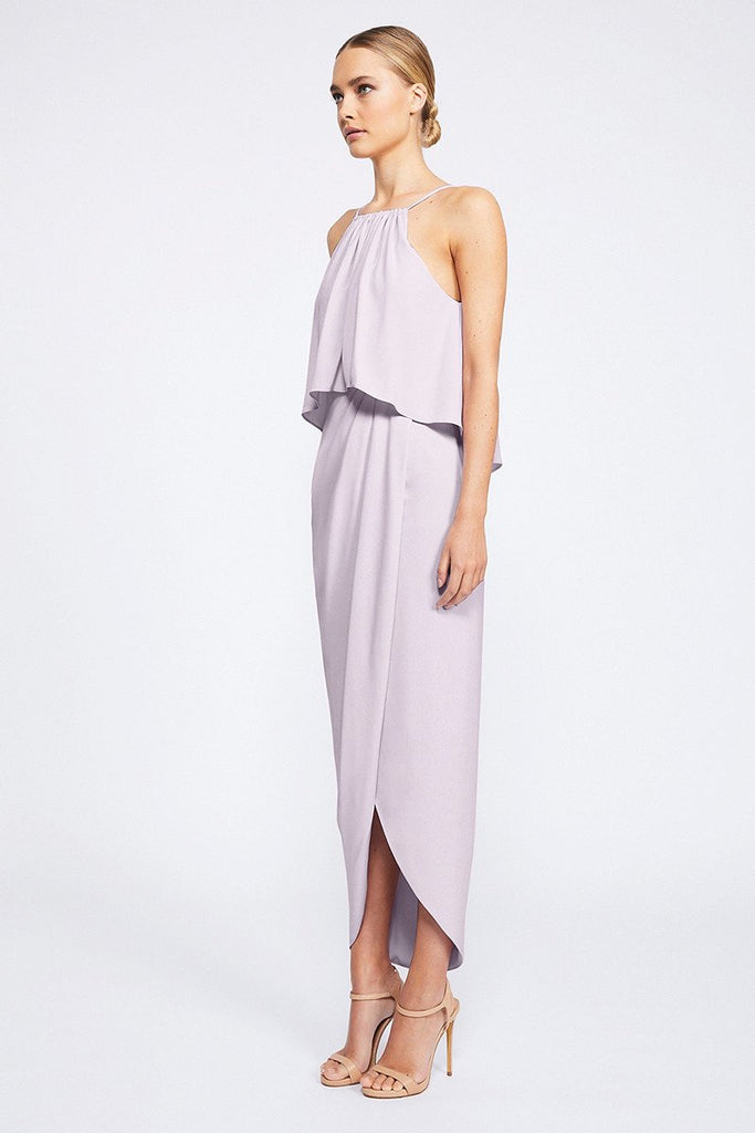 CORE HIGH NECK FRILL DRESS - LILAC