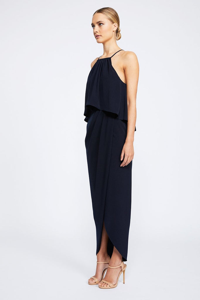 CORE HIGH NECK FRILL DRESS - NAVY