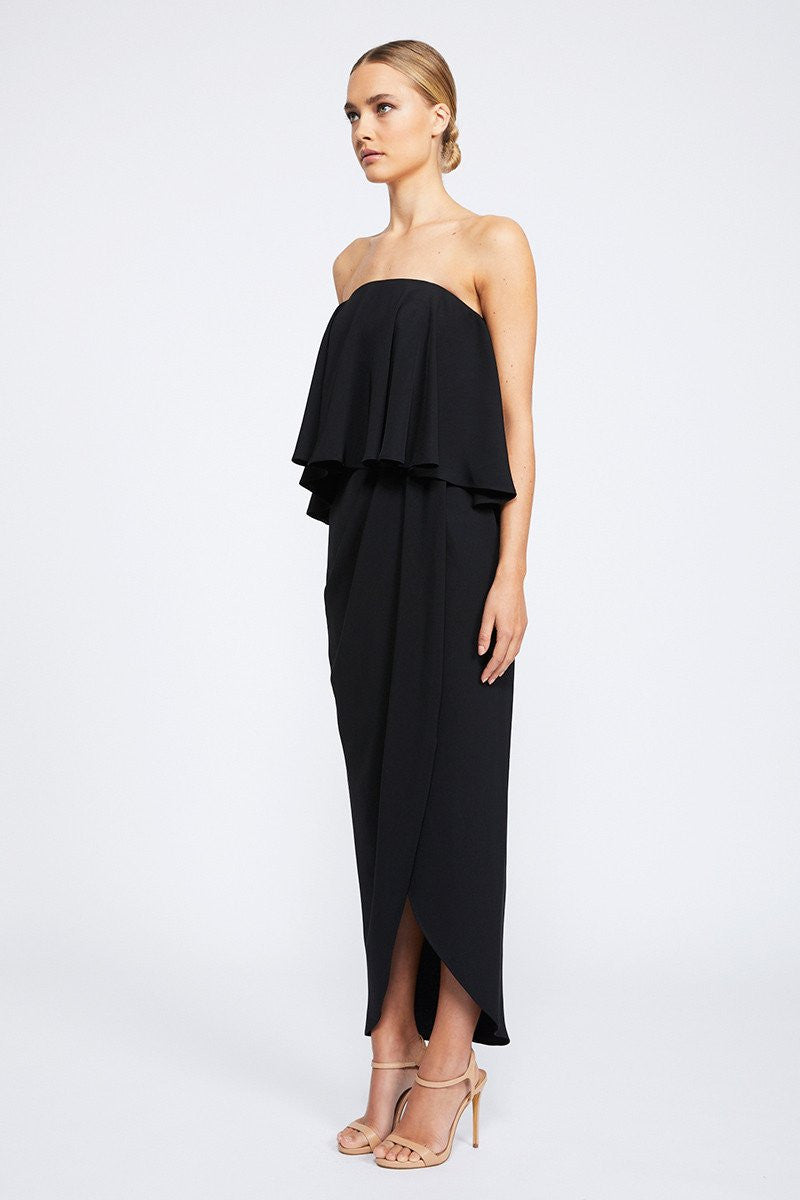 CORE STRAPLESS FRILL DRESS - BLACK