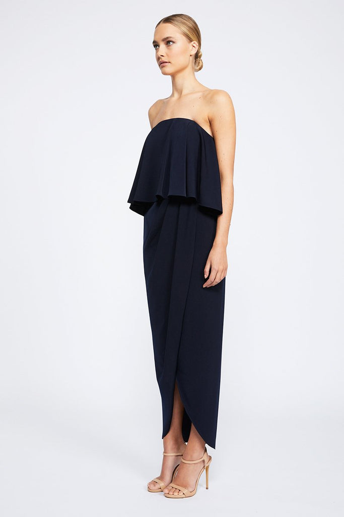 CORE STRAPLESS FRILL DRESS - NAVY