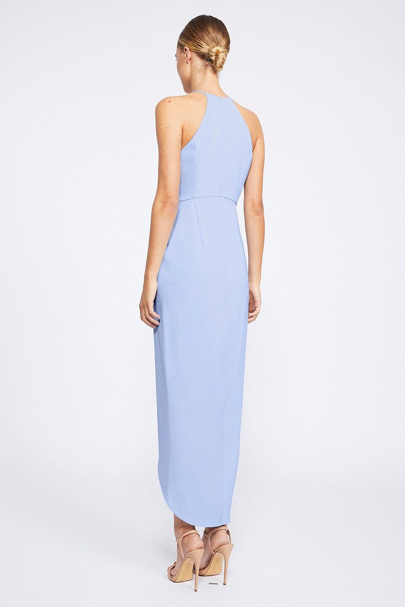 CORE HIGH NECK RUCHED DRESS - CORNFLOWER