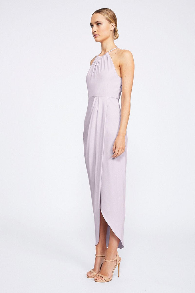 CORE HIGH NECK RUCHED DRESS - LILAC