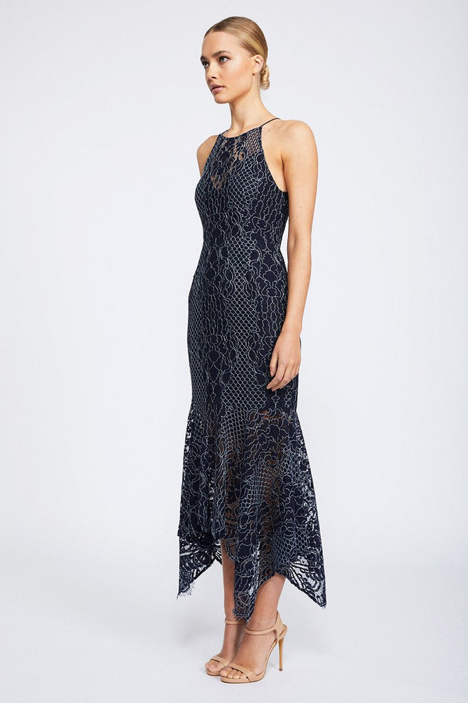 LACE HIGH NECK HANDKERCHIEF MIDI DRESS - NAVY