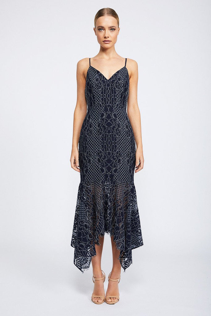 LACE COCKTAIL HANDKERCHIEF MIDI DRESS - NAVY