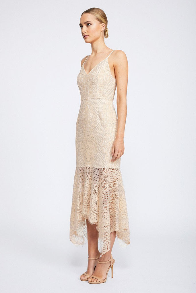 LACE COCKTAIL HANDKERCHIEF MIDI DRESS - NUDE
