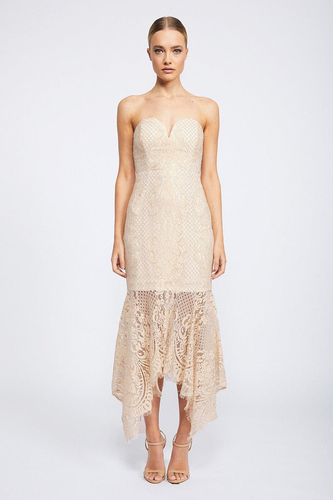 LACE BUSTIER HANDKERCHIEF MIDI DRESS - NUDE
