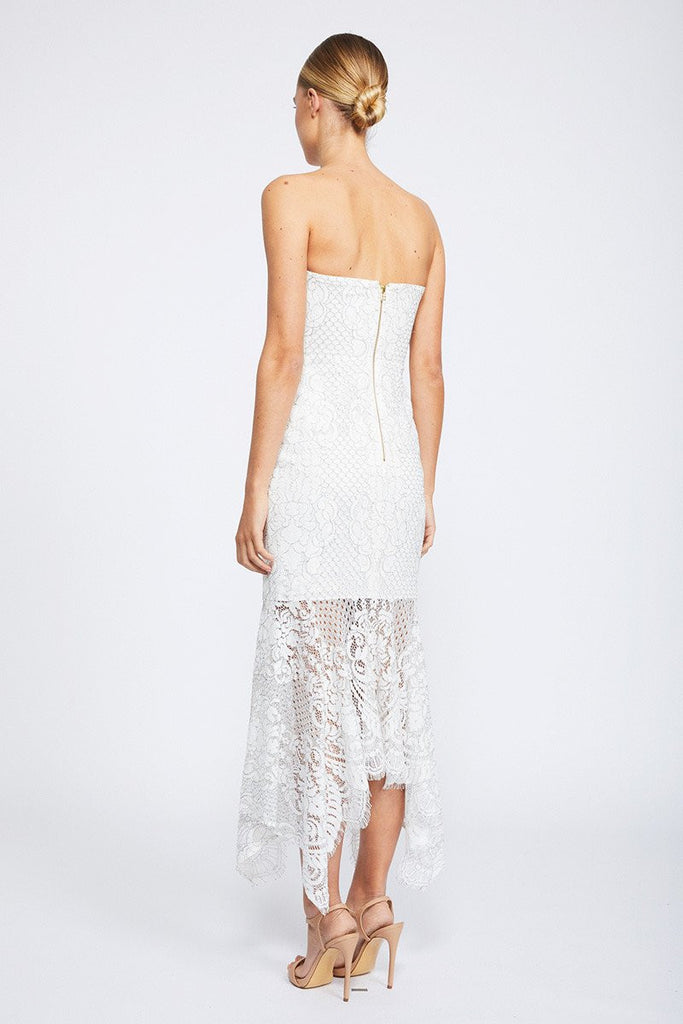 LACE BUSTIER HANDKERCHIEF MIDI DRESS - IVORY