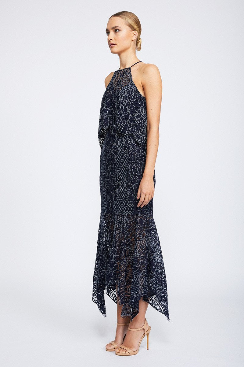 LACE HIGH NECK HANDKERCHIEF DRESS WITH FRILL - NAVY