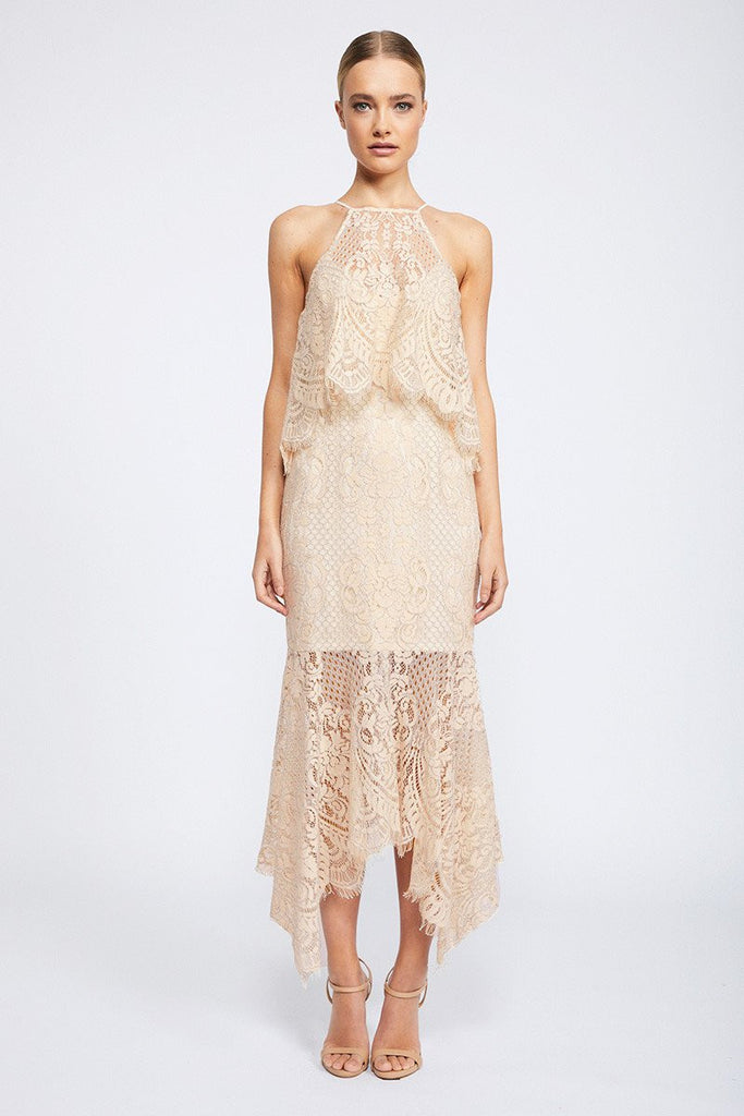 LACE HIGH NECK HANDKERCHIEF DRESS WITH FRILL - NUDE