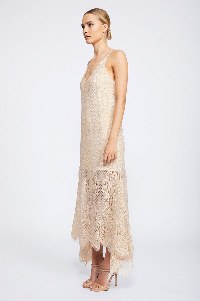 LACE HANDKERCHIEF SLIP DRESS - NUDE