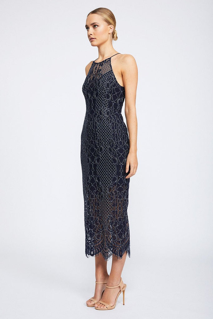 LACE HIGH NECK MIDI DRESS - NAVY