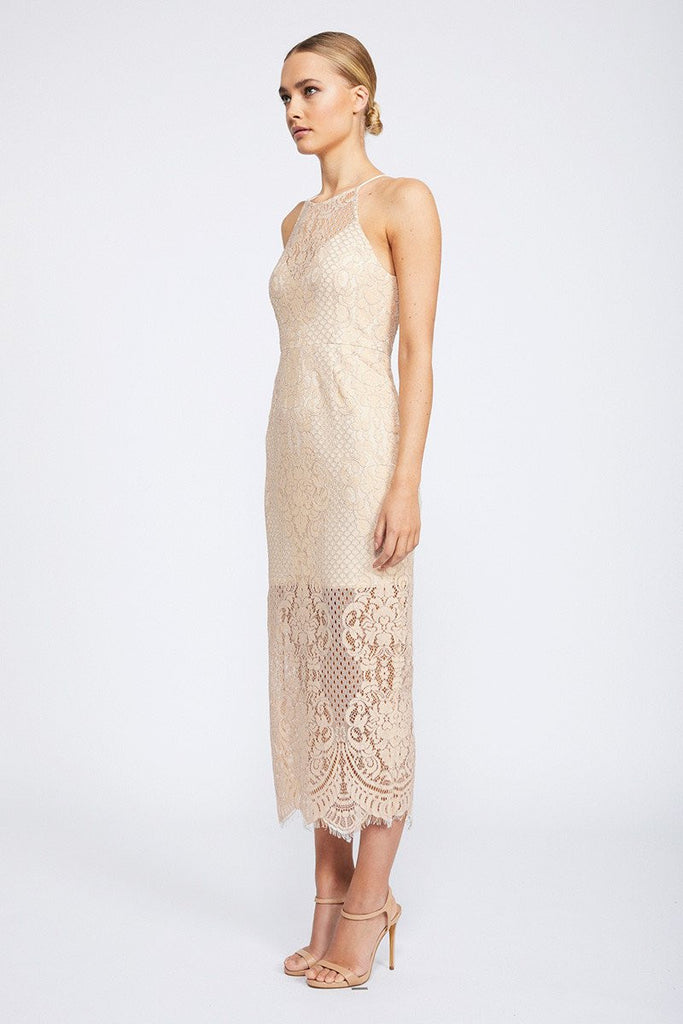 LACE HIGH NECK MIDI DRESS - NUDE