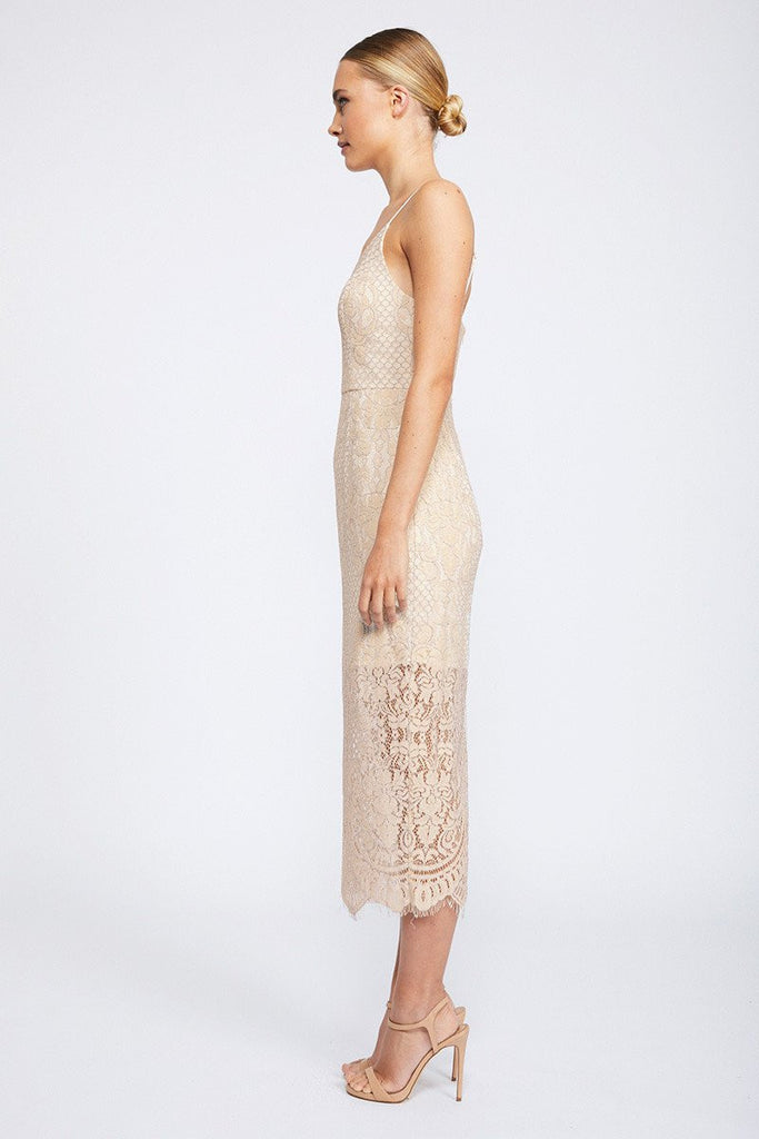 LACE COCKTAIL MIDI DRESS - NUDE