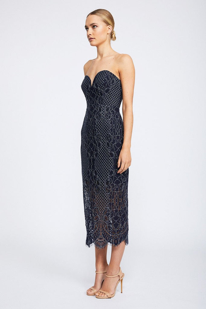 LACE BUSTIER MIDI DRESS - NAVY