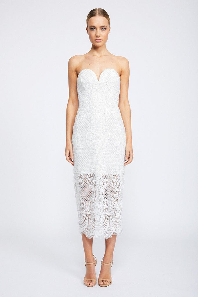 LACE BUSTIER MIDI DRESS - IVORY