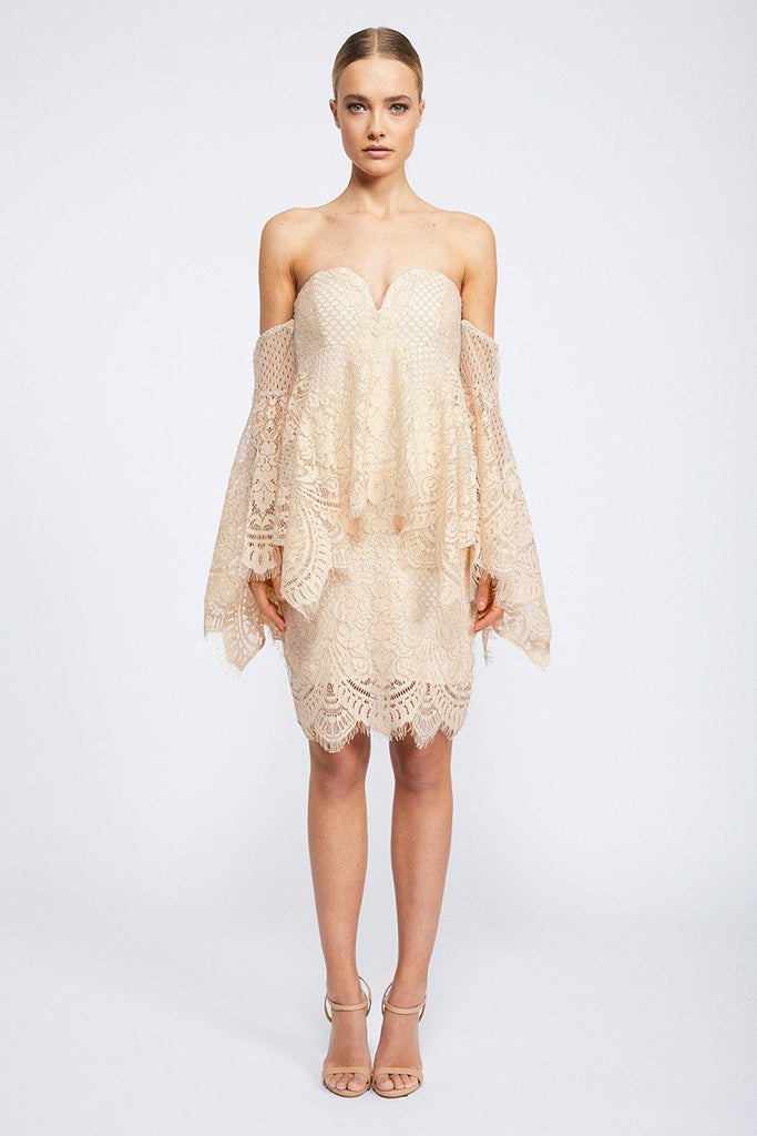LACE ANGEL MINI DRESS - NUDE