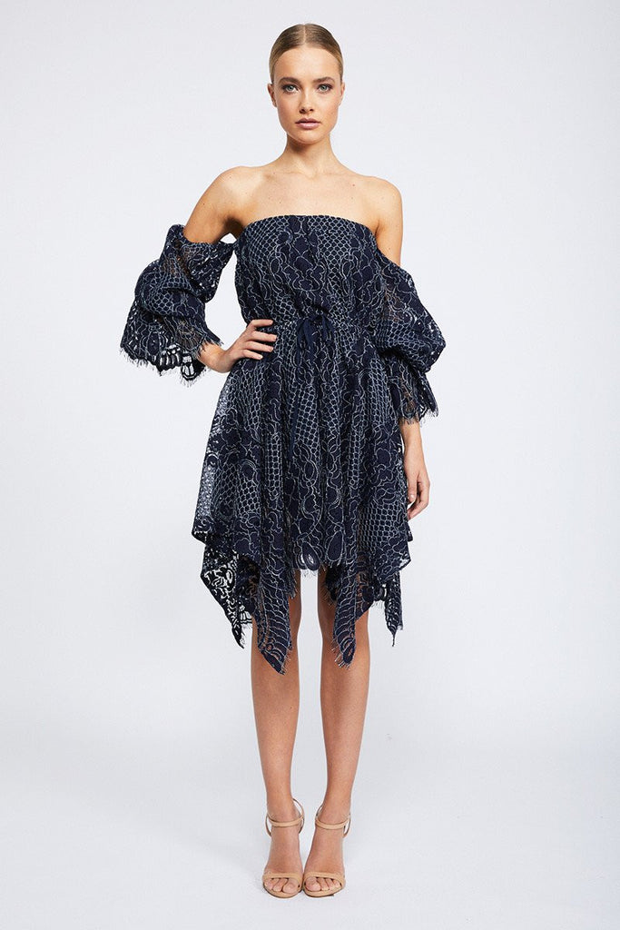 LACE OFF THE SHOULDER MINI DRESS - NAVY