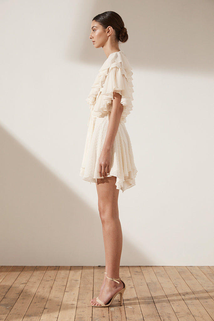 STELLA RUFFLE DRAWSTRING MINI DRESS - CREAM
