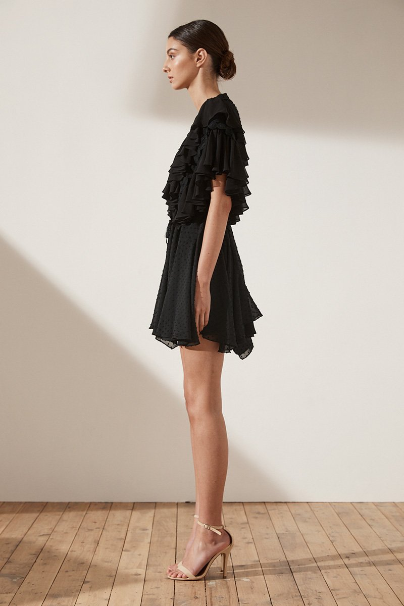 STELLA RUFFLE DRAWSTRING MINI DRESS - BLACK