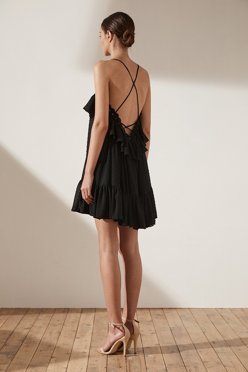 STELLA CROSS BACK MINI DRESS - BLACK