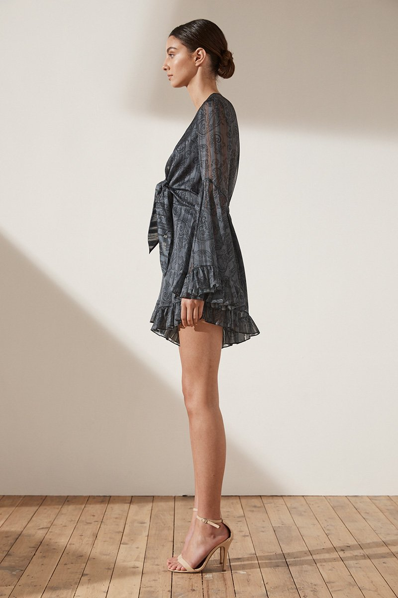 MAREA FLARED SLEEVE TIE FRONT PLAYSUIT - CHARCOAL