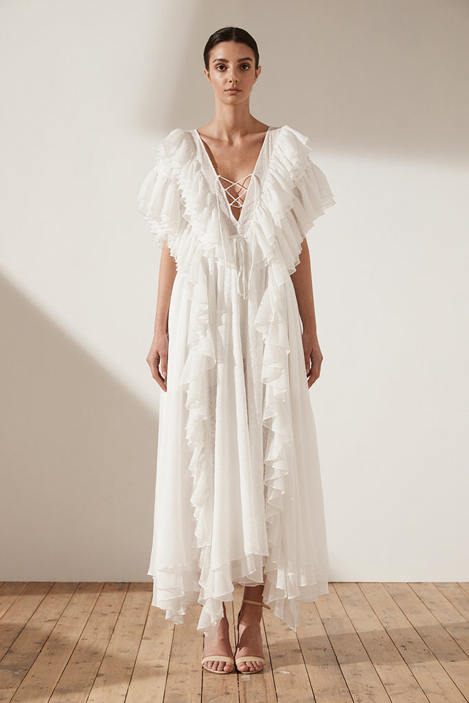 UCCELLO RUFFLE LAYERED MAXI DRESS - IVORY