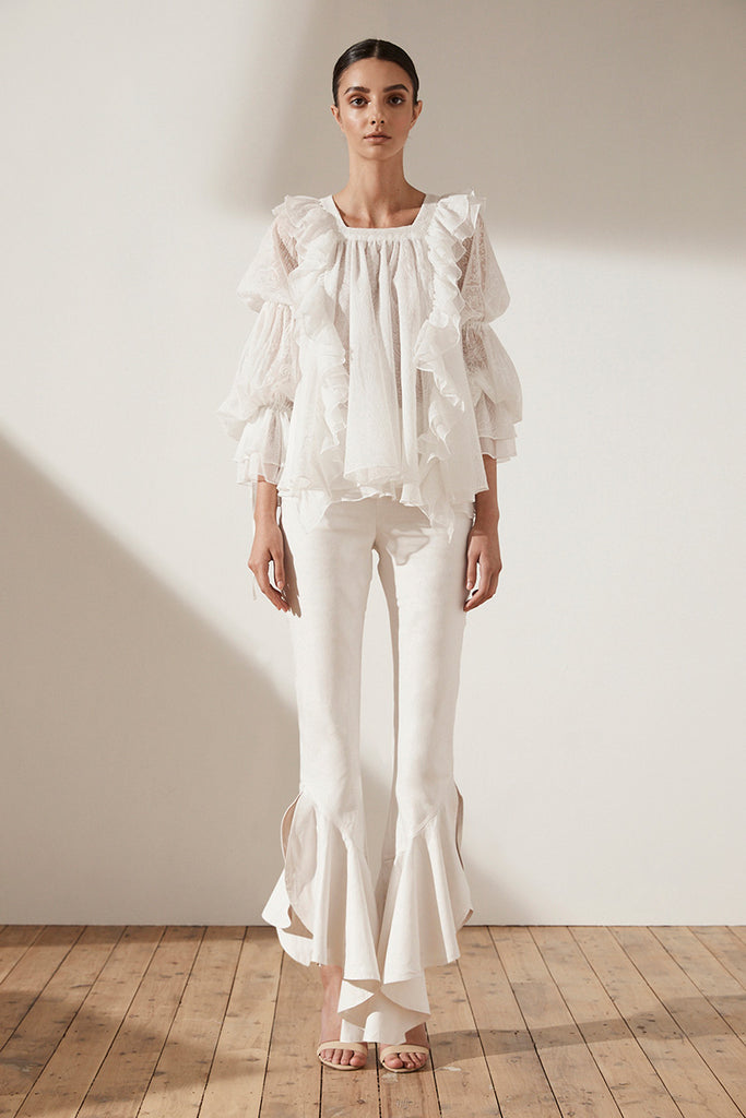 UCCELLO PUFF SLEEVE LAYERED BLOUSE - IVORY