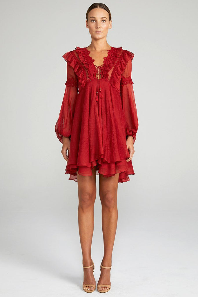 CATHERINE LAYERED MINI DRESS - BURNT RED