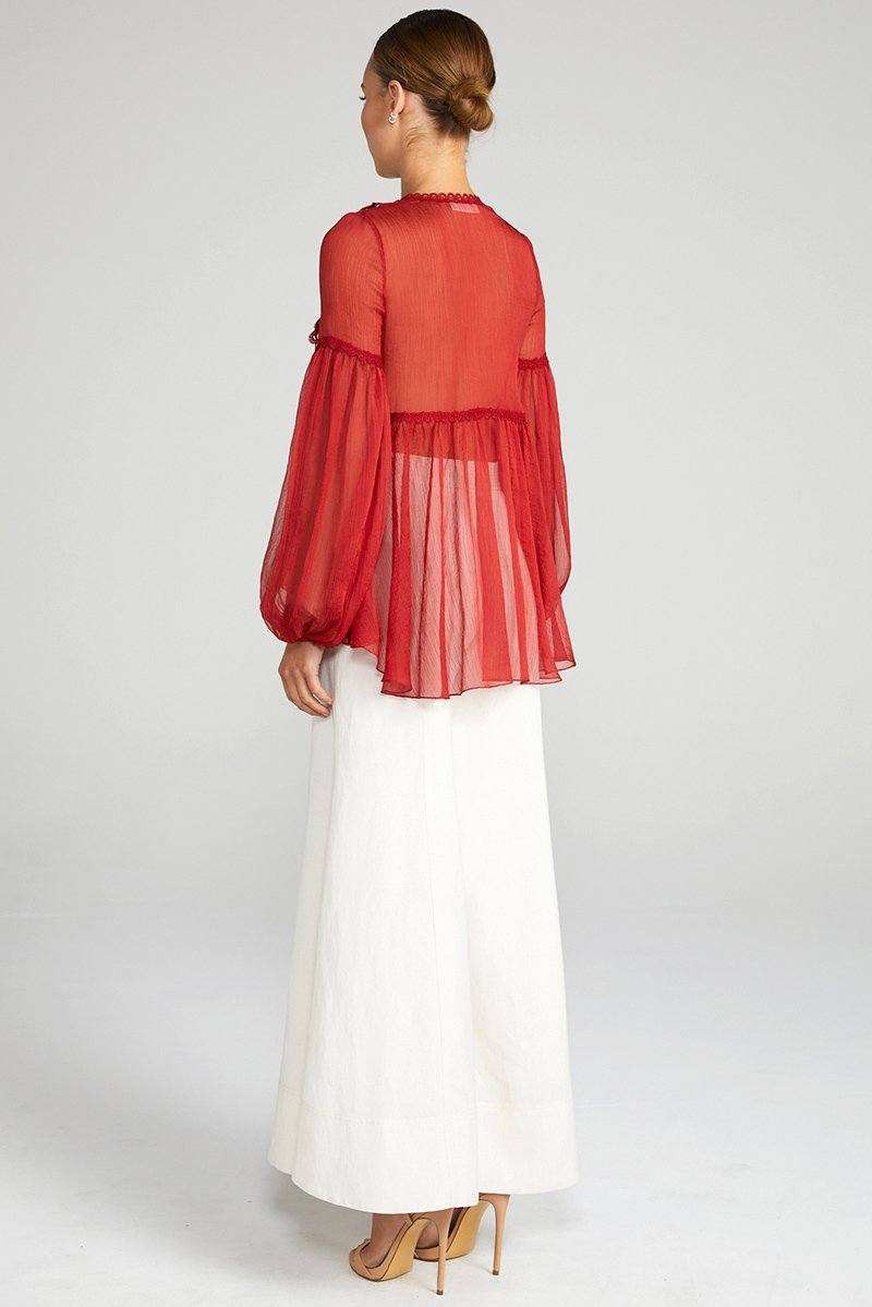 CATHERINE PUFF SLEEVE BLOUSE - BURNT RED