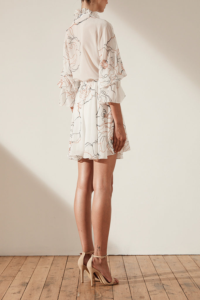 CHIARA LACE UP DRAWSTRING MINI DRESS