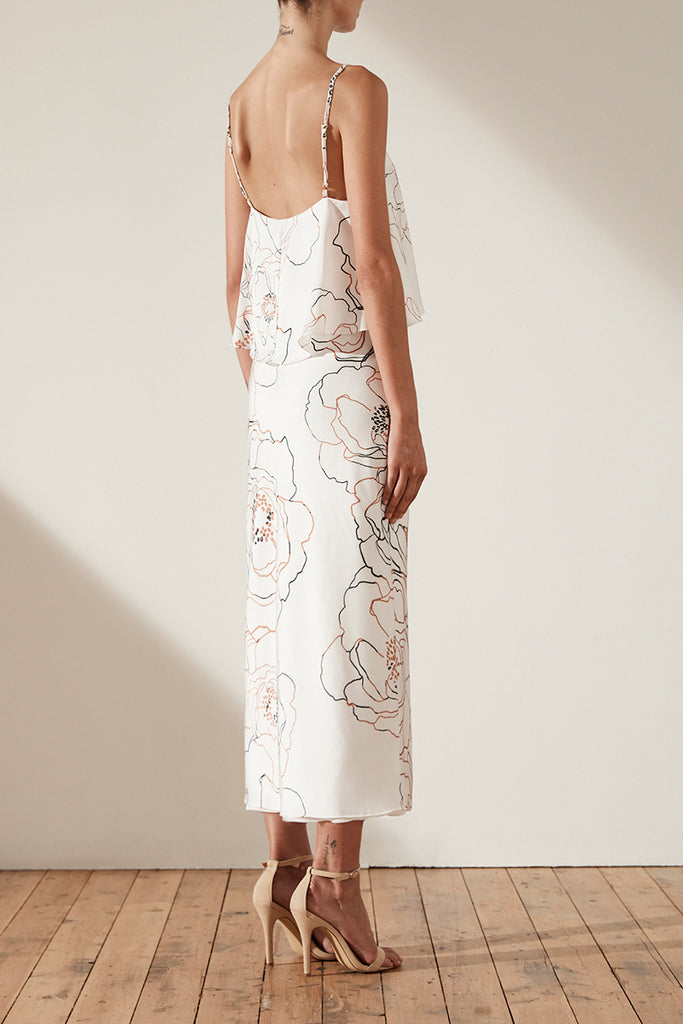 DANTE FRILL BIAS SLIP MIDI DRESS