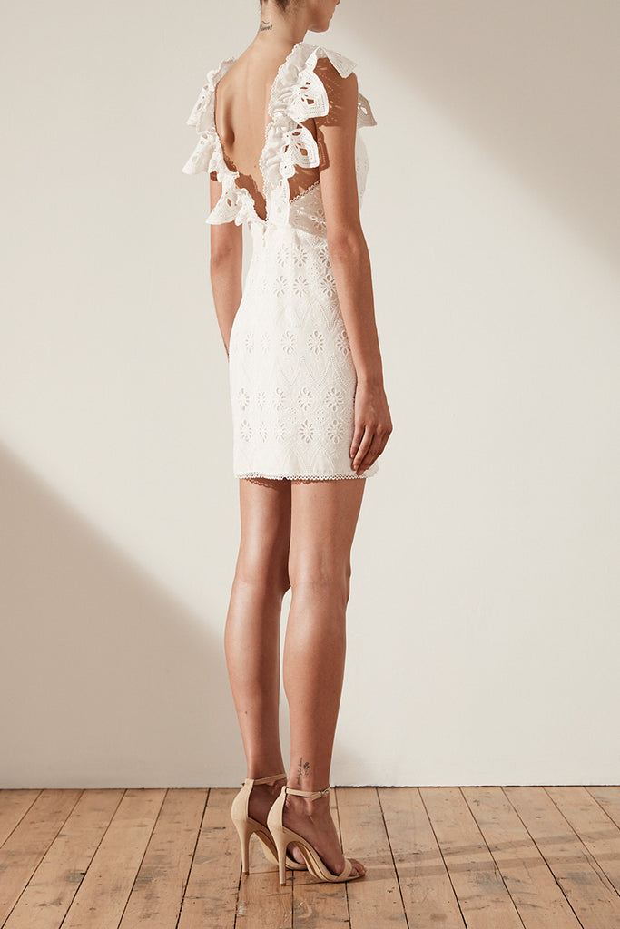 VIOLA COTTON LACE COCKTAIL MINI DRESS - WHITE