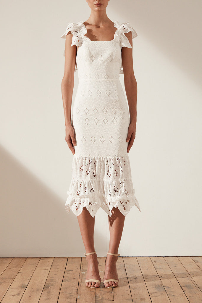 VIOLA COTTON LACE COCKTAIL MIDI DRESS - WHITE