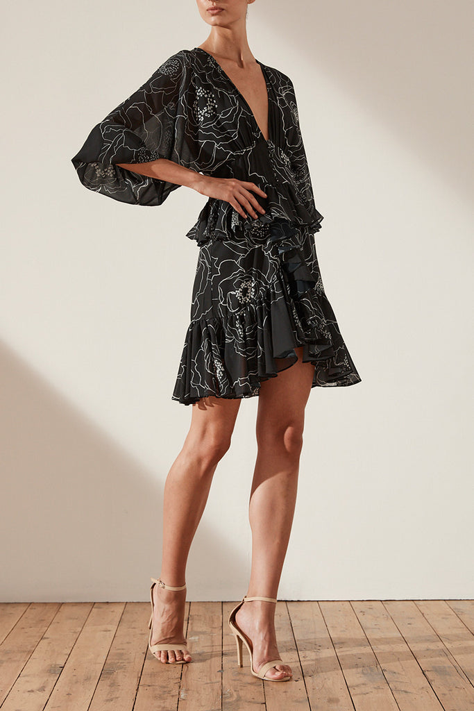 NERO PLUNGED RUFFLE MINI DRESS