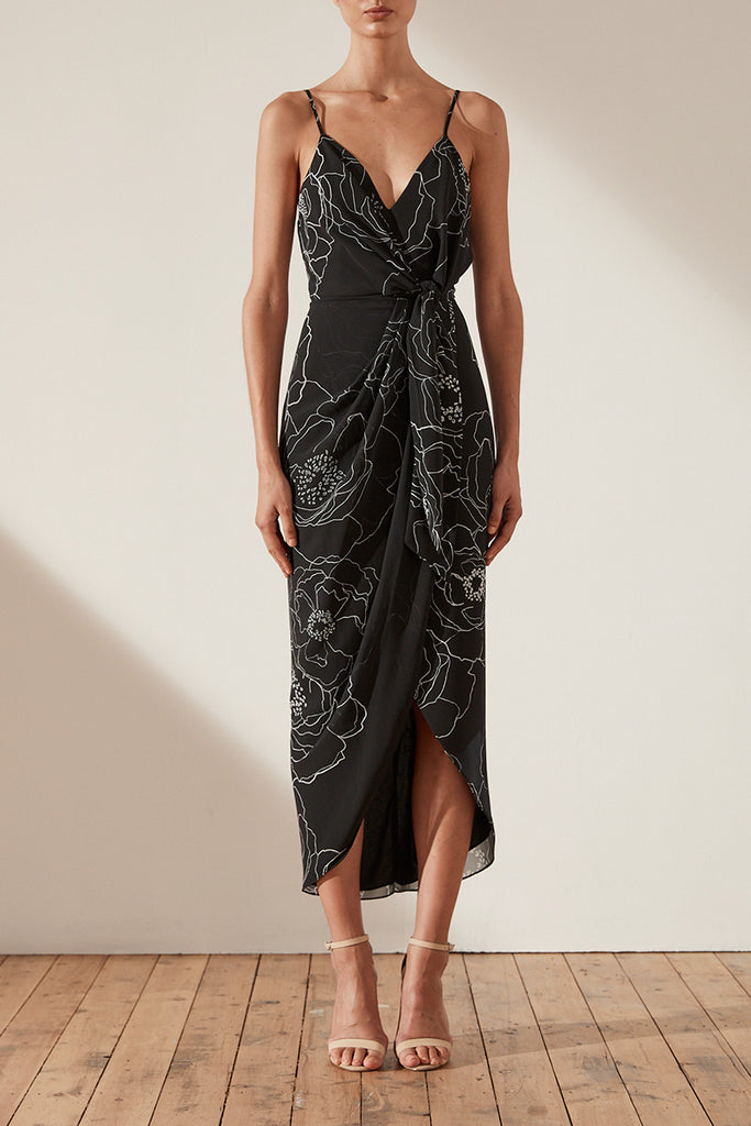 NERO TIE FRONT COCKTAIL MIDI DRESS