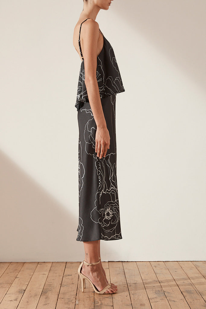 LUCCA FRILL BIAS SLIP MIDI DRESS