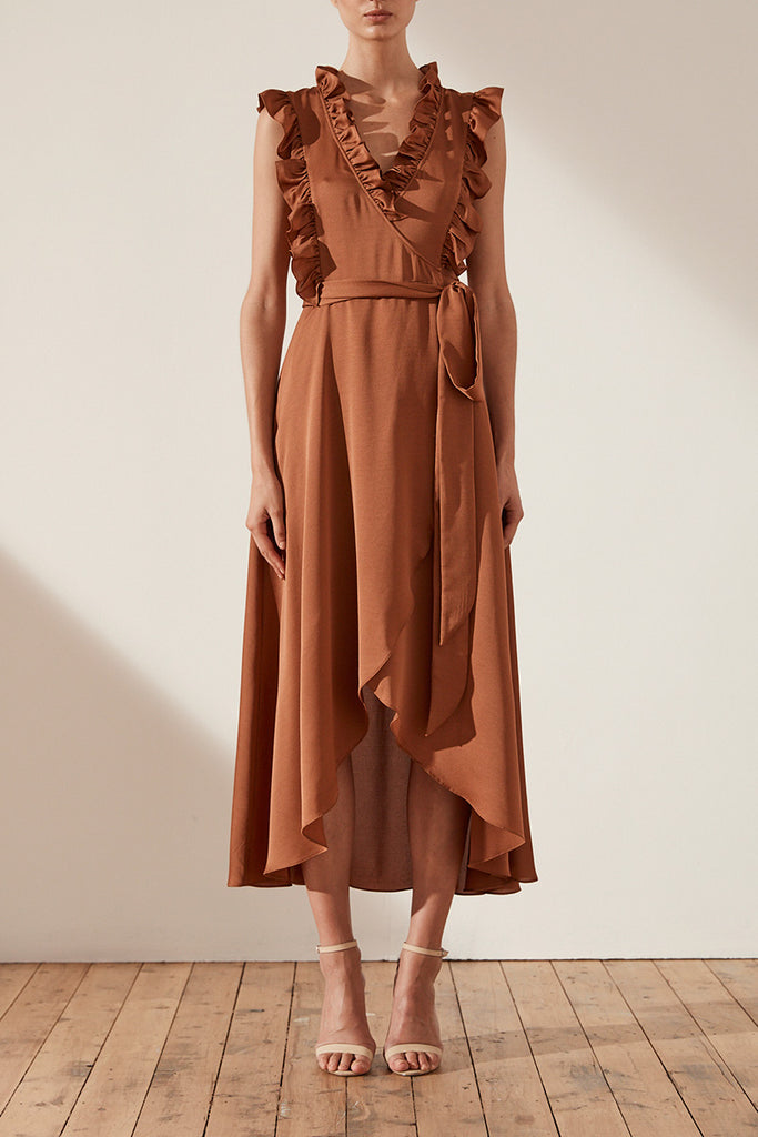 ORO WRAP MIDI DRESS - MOCHA