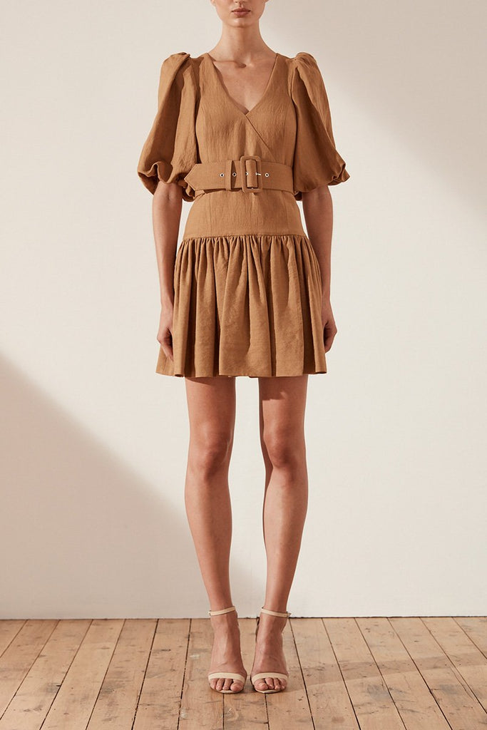 GAIA LINEN PUFF SLEEVE DROP WAIST MINI DRESS WITH BELT - NUTMEG
