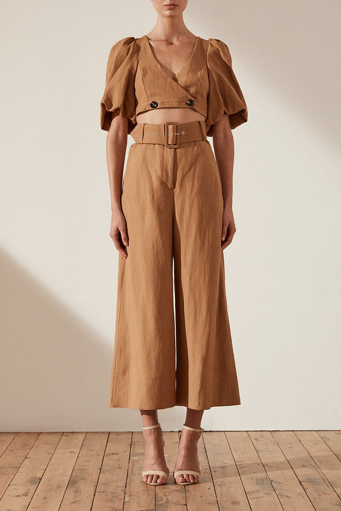 GAIA LINEN HIGH WAIST CULOTTE WITH BELT - NUTMEG