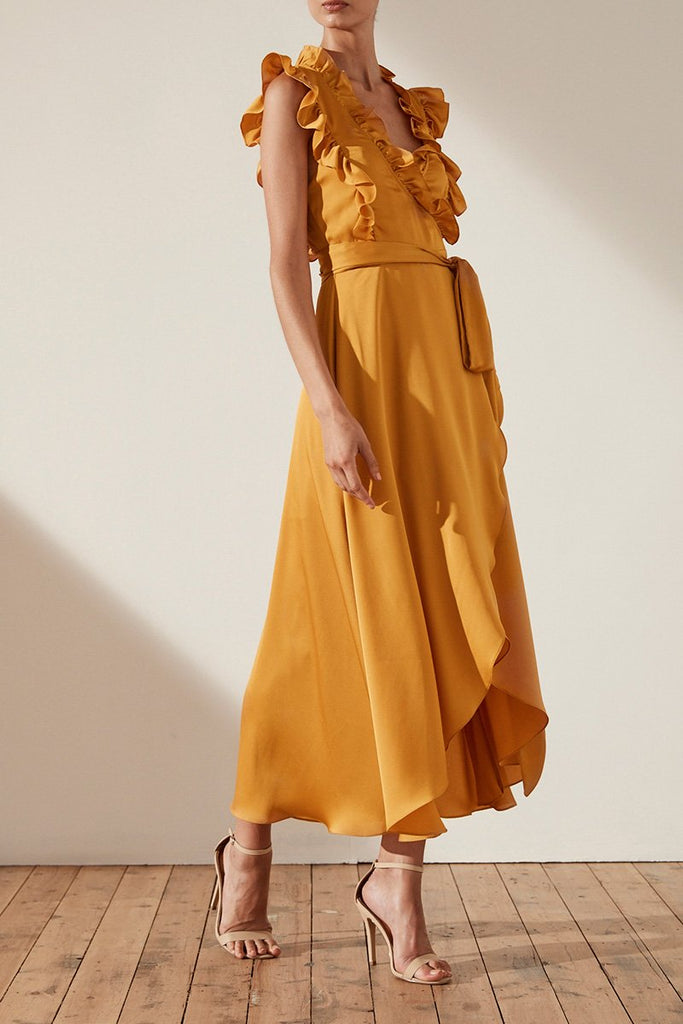 ORO WRAP MIDI DRESS - SAFFRON