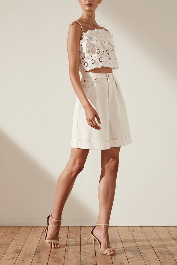 VIOLA COTTON LACE CROPPED CAMISOLE - WHITE