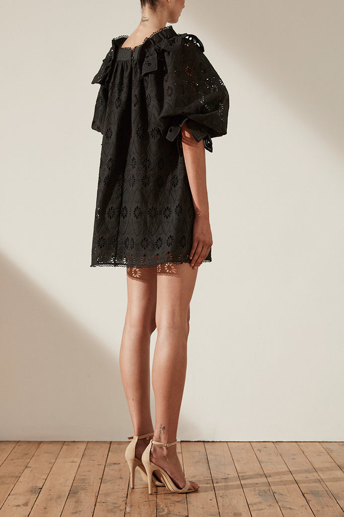 VIOLA COTTON LACE PUFF SLEEVE BABY DOLL MINI DRESS - BLACK