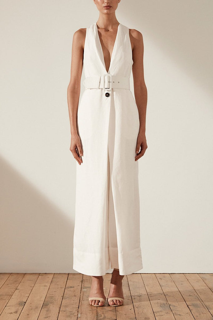 GAIA LINEN PLEAT FRONT JUMPSUIT WITH BELT - IVORY