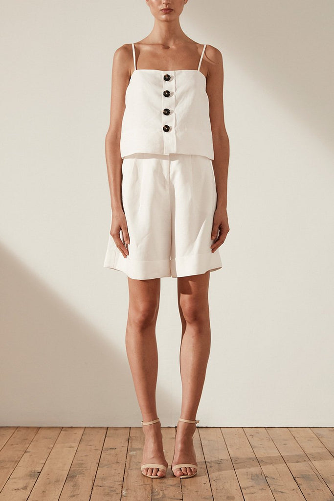 GAIA LINEN BUTTON UP CROPPED CAMISOLE - IVORY
