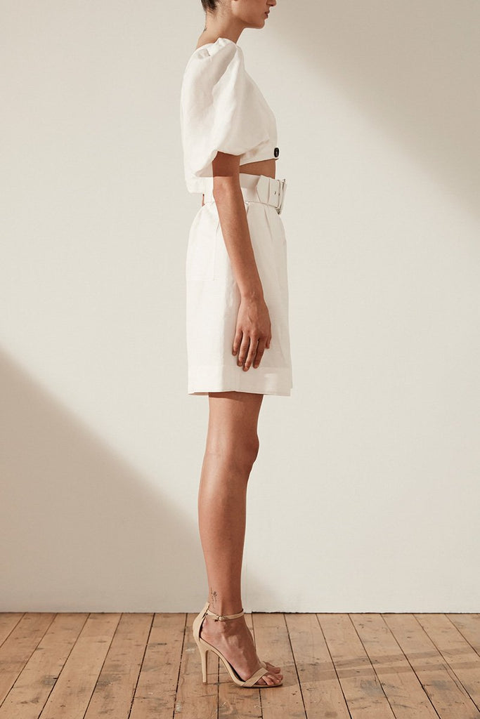 GAIA LINEN HIGH WAIST BERMUDA SHORT WITH BELT - IVORY