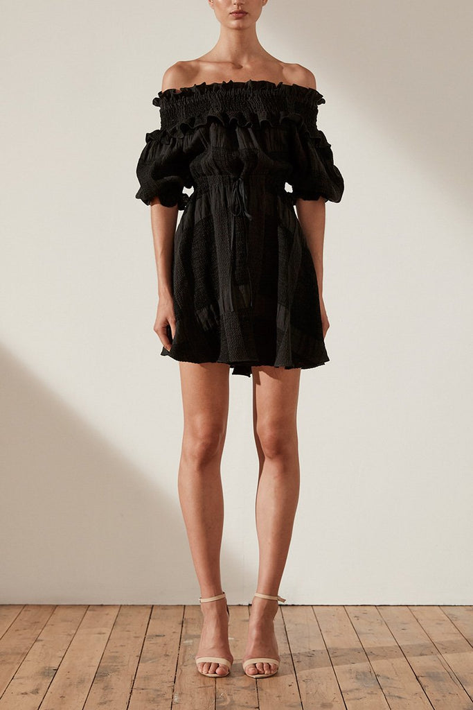 CHIARO LINEN OTS SHIRRED MINI DRESS - BLACK