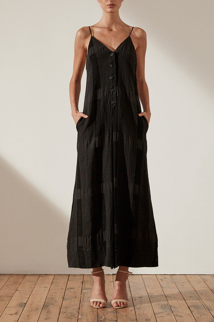 CHIARO LINEN FLARED JUMPSUIT - BLACK