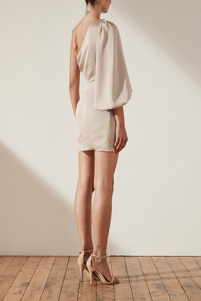 ORO TIE FRONT ONE SHOULDER MINI DRESS - TAUPE