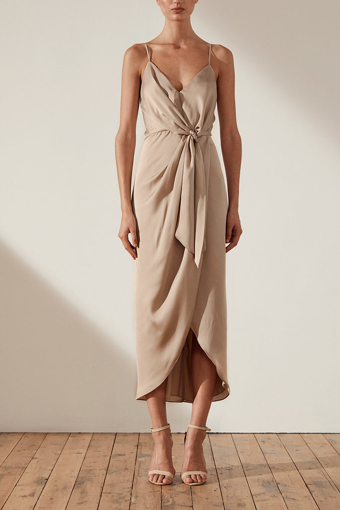 ORO TIE FRONT COCKTAIL MIDI DRESS - STONE